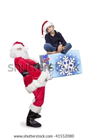 santa bringing a special gift for christmas - stock photo