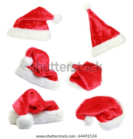 Santa cap collection isolated on white background - stock photo