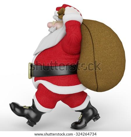 santa carring the bag 3 - stock photo