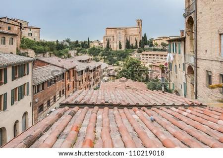 Santa Caterina church located in Siena, Tuscany, Italy. - stock photo