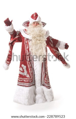 santa chlaus or russian ded moroz on white background