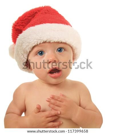 Santa Christmas baby talking to you. - stock photo