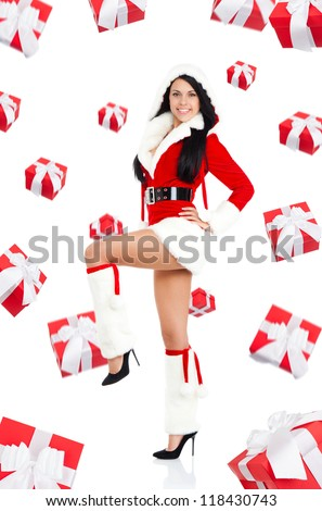 santa christmas girl with new year gift box presents fall fly around, excited woman smile full length portrait
