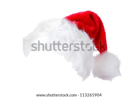 Santa Christmas hat isolated on white background. designed to easily put on persons head. - stock photo