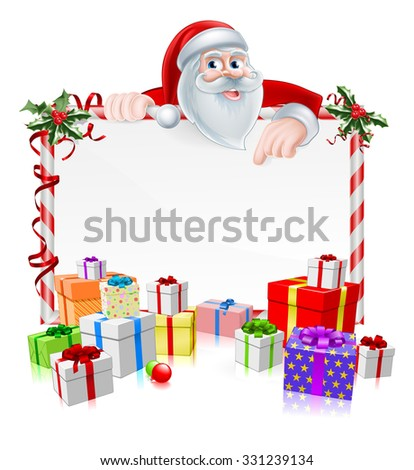 Santa Christmas Sign with cartoon Santa peeking over a sign with gifts and Christmas holly - stock photo