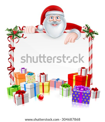 Santa Christmas Sign with cartoon Santa peeking over a sign with wrapped presents and Christmas holly - stock photo