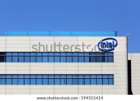 SANTA CLARA, CA � MARCH 18: The Intel World Headquarters located in Santa Clara, California on March 18, 2014. Intel Corporation is an American multinational semiconductor chip maker corporation. - stock photo