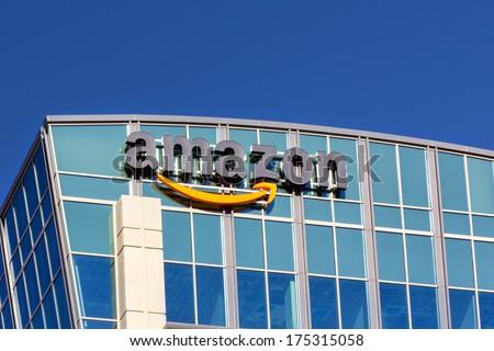SANTA CLARA,CA/USA - FEBRUARY 1, 2014: Amazon building in Santa Clara, California.  Amazon is an American international electronic commerce company. It is the world's largest online retailer. - stock photo
