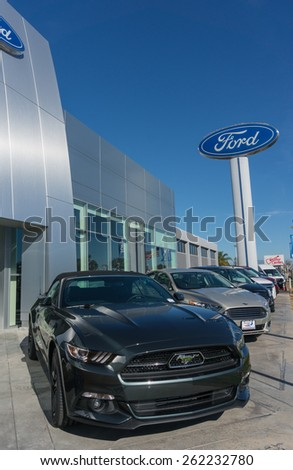 SANTA CLARA, CA/USA - FEBRUARY 16: Ford cars on display on Feb 16, 2015 in Santa Clara, CA. Ford is an American multinational automaker headquartered in Dearborn, Michigan. - stock photo