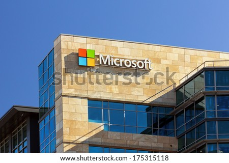 SANTA CLARA,CA/USA - FEBRUARY 1, 2014:  Microsoft corporate building. Microsoft is a multinational corporation that develops, supports and sells computer software and services. - stock photo