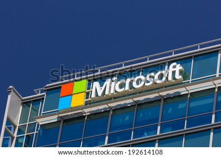 SANTA CLARA,CA/USA - MAY 11, 2014:  Microsoft corporate building in Santa Clara, California.  Microsoft is a multinational corporation that develops, supports and sells computer software and services. - stock photo