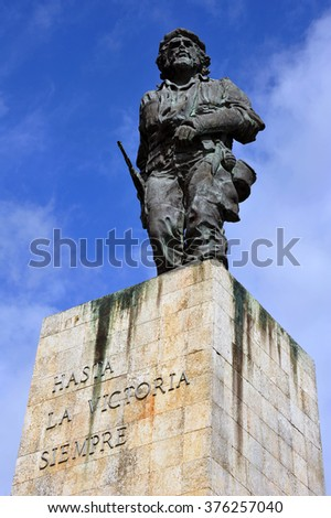 SANTA CLARA, CUBA - JAN 19, 2016:  The statue of Cuban national hero Che Guevara at the Mausoleum and memorial to him and 29 others who fought with him in Bolivia. - stock photo