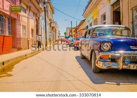 SANTA CLARA, CUBA - SEPTEMBER 08, 2015: typical street in Downtown of the capital city of the Cuban province of Villa Clara. - stock photo