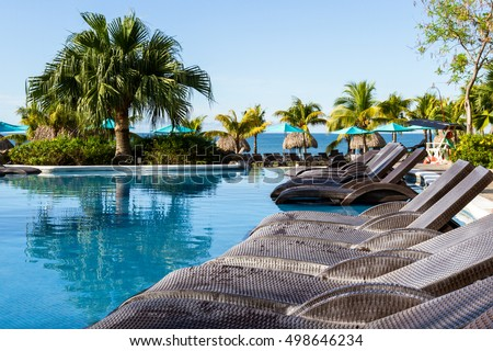 Santa Clara, Panama- June 15: Beautiful view of the Sheraton Bijao hotel and swimming pool in the morning. June 15 2016, Santa Clara, Panama.