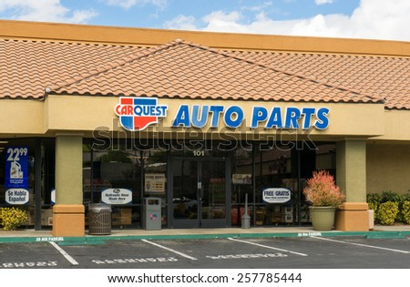 SANTA CLARITA, CA/USA - MARCH 1, 2015: Carquest Auto Parks store and sign. Carquest Auto Parts is an automotive auto parts chain headquartered in the Unied States. - stock photo