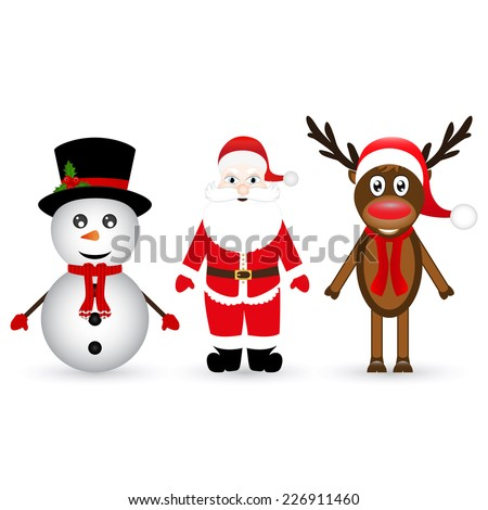 Santa Claus, a reindeer and a snowman on white background