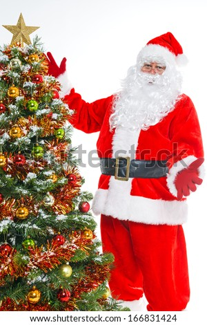 Santa Claus and a Christmas tree isolated on a white background.