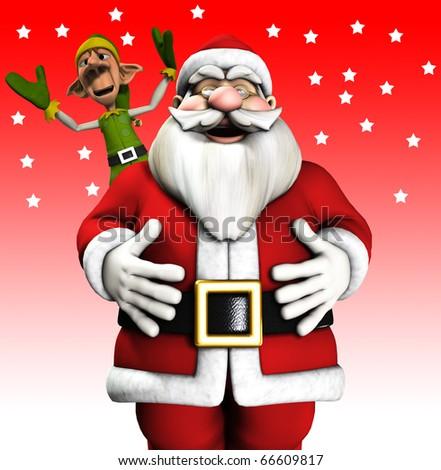 Santa Claus and a Elf - stock photo