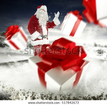santa claus and boxes of xmas time
