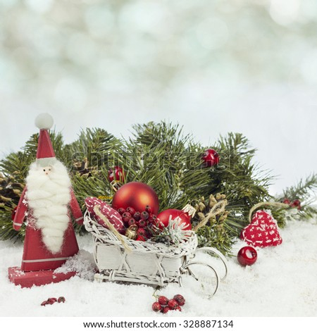 Santa Claus and christmas decoration - stock photo