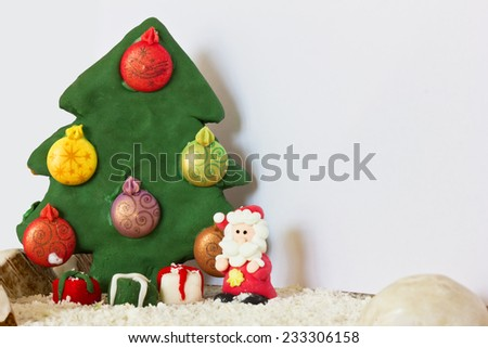Santa Claus and Christmas tree made of gingerbread