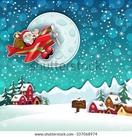 Santa Claus and gifts on an airplane in country snowy - stock photo