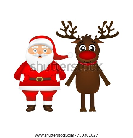Santa Claus and reindeer on white background