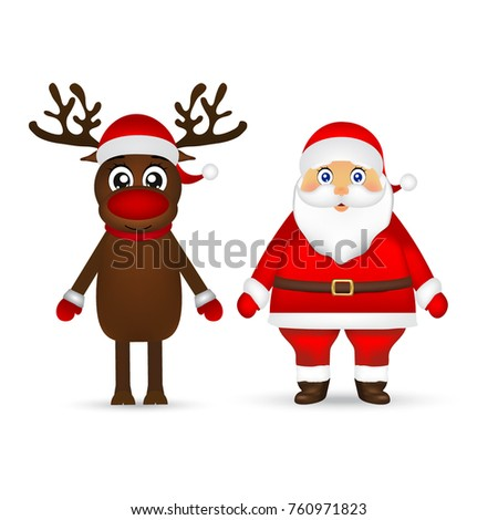 Santa Claus and reindeer on white background,Christmas Characters