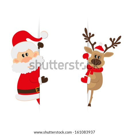Santa Claus and reindeer with space for text raster image