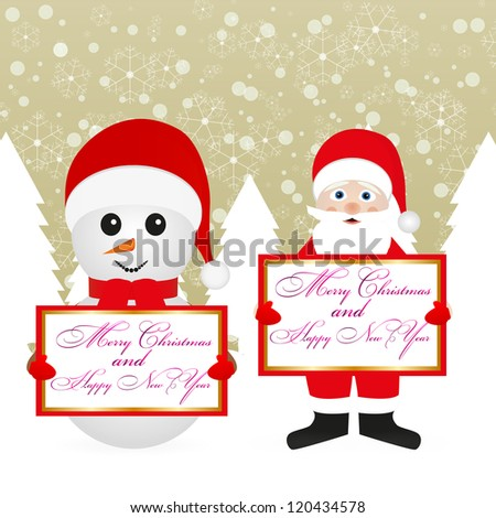 Santa Claus and snowman in a fairy forest with banners - stock photo