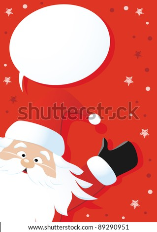 Santa Claus and speech bubble on a red background, vector - stock photo