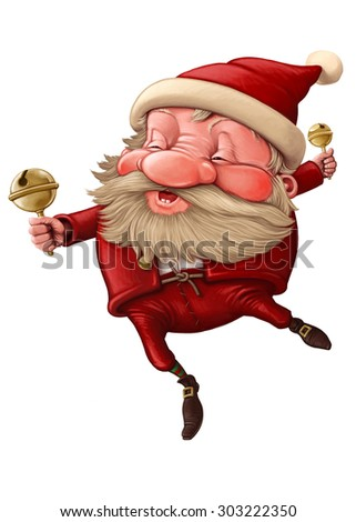 Santa Claus and the bell's dancing illustration - stock photo