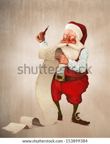 Santa Claus and the list of gifts - stock photo