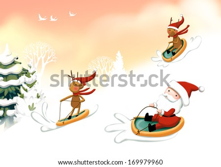 Santa Claus and two reindeer sledding down a snowy hill. - stock photo