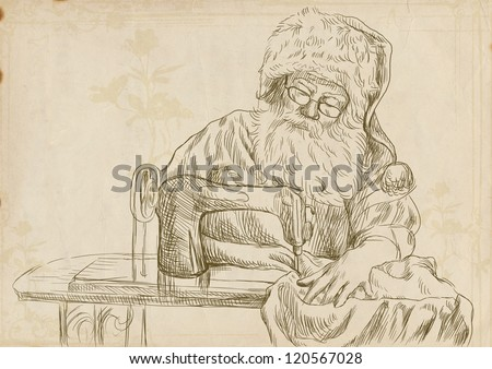 """Santa Claus as a tailor sitting behind a sewing machine - sewing Christmas presents for ladies. Full-sized drawing (useful for """"live trace"""" converting - and others). Digital tablet technique. - stock photo"""