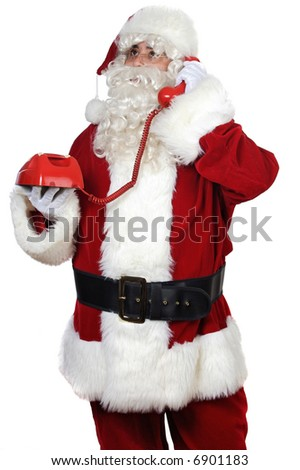 Santa Claus at the phone over white background