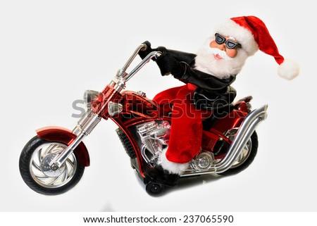 Santa Claus biker - stock photo