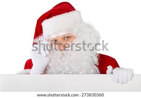 Santa Claus. Blank sign - Santa (on white) - stock photo