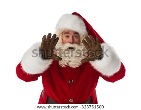 Santa Claus blowing Portrait Isolated on White Background