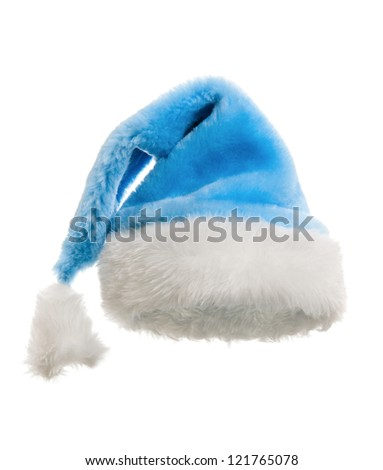 Santa claus blue hat. isolated on white