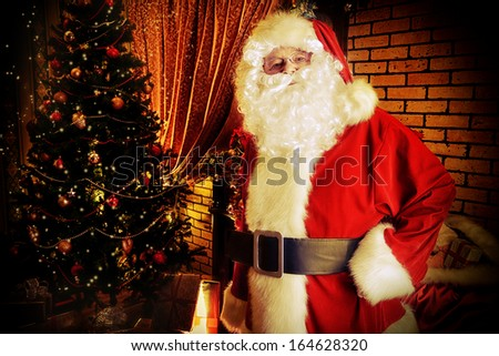 Santa Claus brought gifts for Christmas. - stock photo