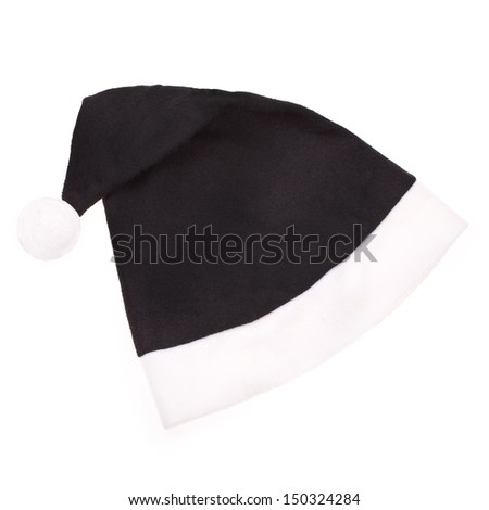 Santa Claus cap black isolated on white background - stock photo