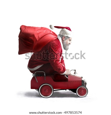 Santa Claus carrying presents