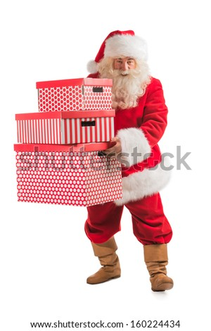Santa Claus carrying stack of big Christmas giftboxes, isolated on white background - stock photo