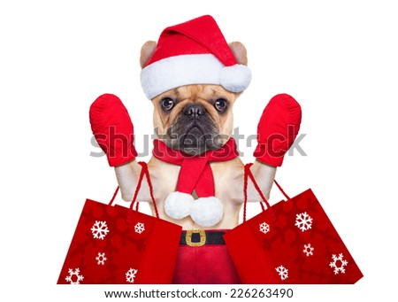 santa claus christmas dog  isolated on white background, waving hands, and shopping on sale - stock photo