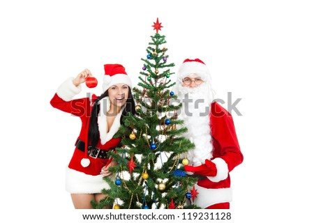 Santa Claus christmas girl, green decorated tree, isolated on white background, happy new year