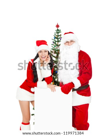 Santa Claus christmas girl, tree hold white board with empty copy space for text, present new year isolated on white background
