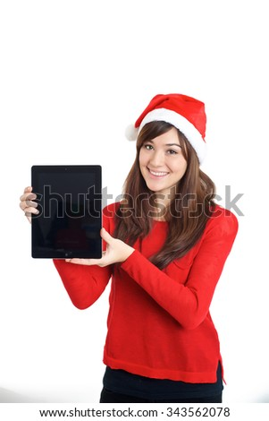 Santa Claus Christmas Mixed Asian race girl holding tablet on white background