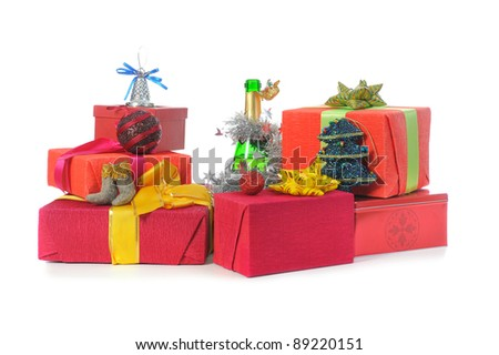 Santa Claus Christmas presents. Isolated on white background