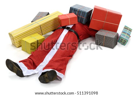 Santa claus christmas presents overwhelm